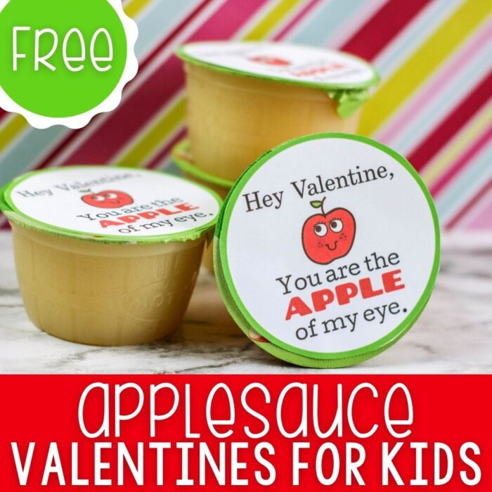 Applesauce Valentine Printable for Kids square featured image.