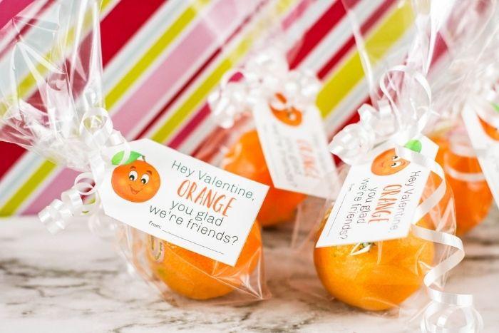 Orange valentine gift for kids.