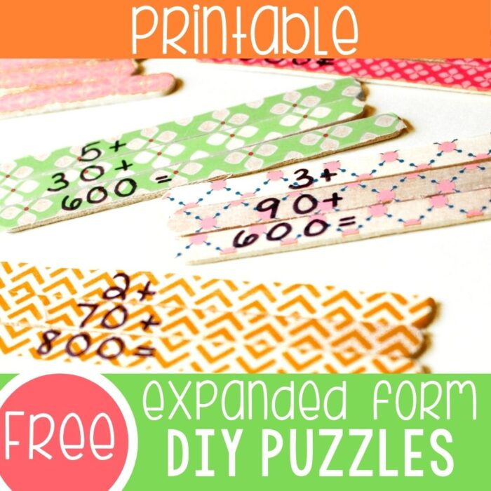 expanded form puzzles activity for math centers