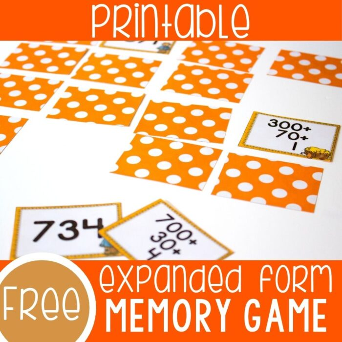 expanded form scarecrow theme memory game for math centers