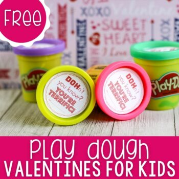 Play Doh Valentine Cards for Kids featured square image.