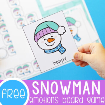 Snowman emotions board game for preschoolers.