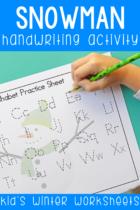Free printable Snowman handwriting worksheets.