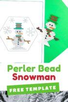 Snowman perler bead craft.