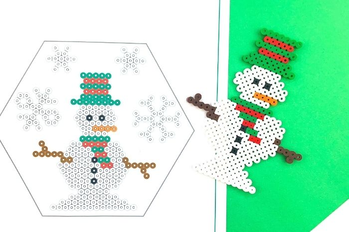 Snowman perler bead craft with printable template.