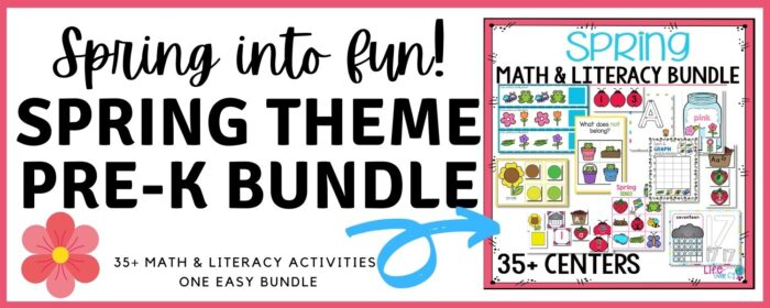 spring theme math and literacy activities for preschool and pre-k