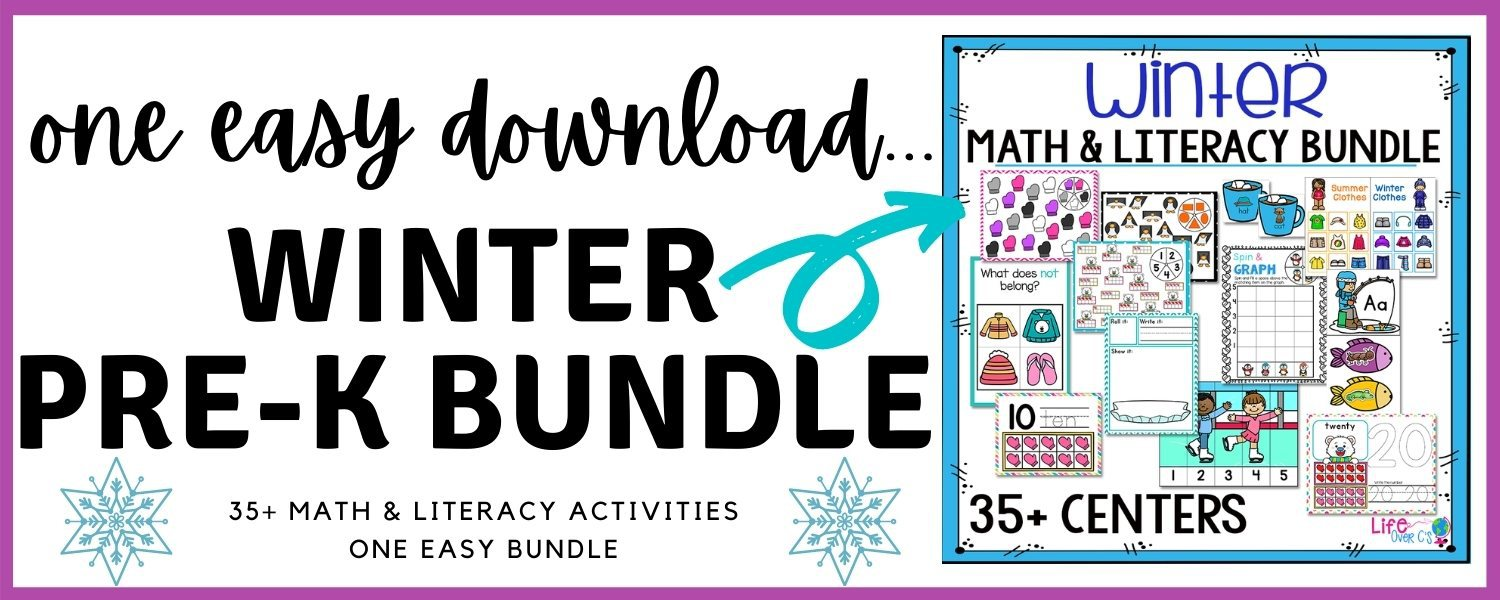 Winter prek math and literacy lessons counting alphabet sorting shapes