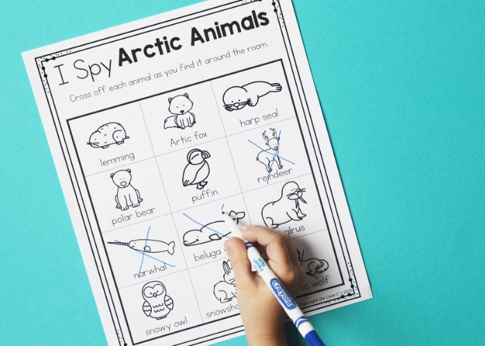 "A child completing the ""I Spy Arctic Animals"" worksheet for the arctic animals posters."
