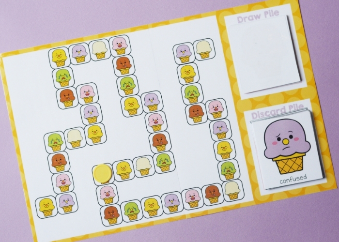 Overhead view of the printable ice cream emotions board game.