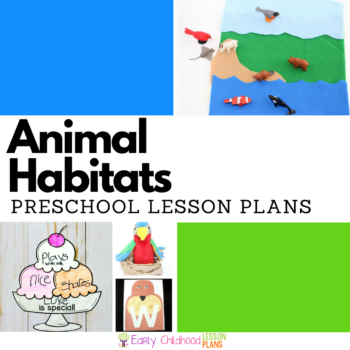 Animal habitats preschool lesson plans square image.