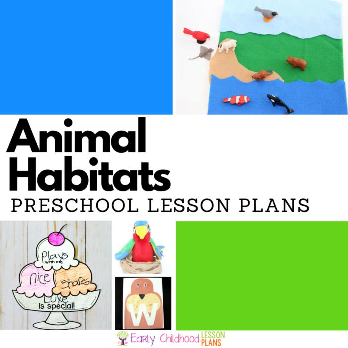 Animal habitats preschool lesson plans square image.