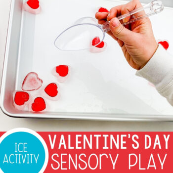 Preschool Valentine's Day Sensory Play with Ice Featured Square Image