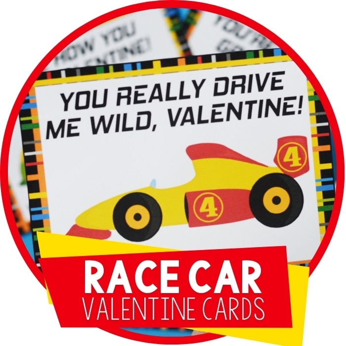 Free Printable Race Car Valentine's Day Cards for Kids