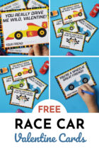 Free Race Car Valentine Cards for Kids