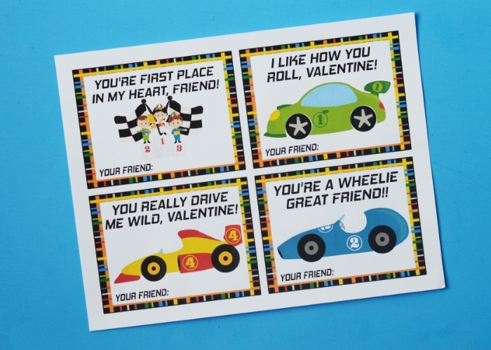 The free Race Car Valentine's Day Cards printed out.