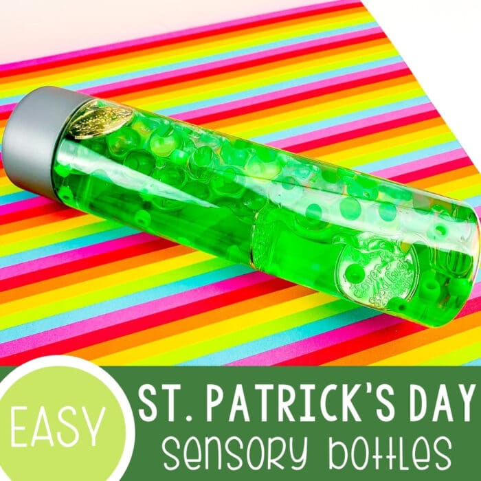 St. Patrick's Day Homemade Sensory Bottles Featured Square Image