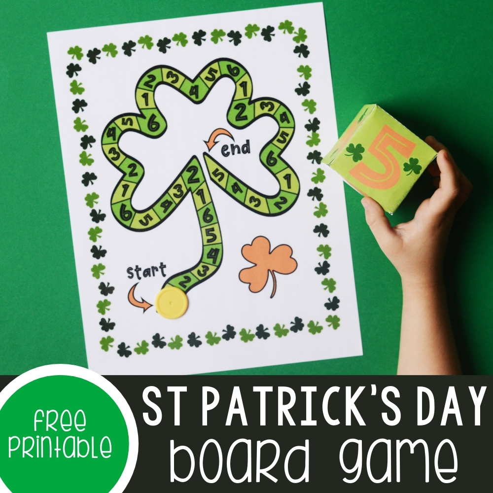 St. Patrick's Day Math Activities Board Game Featured Square Image