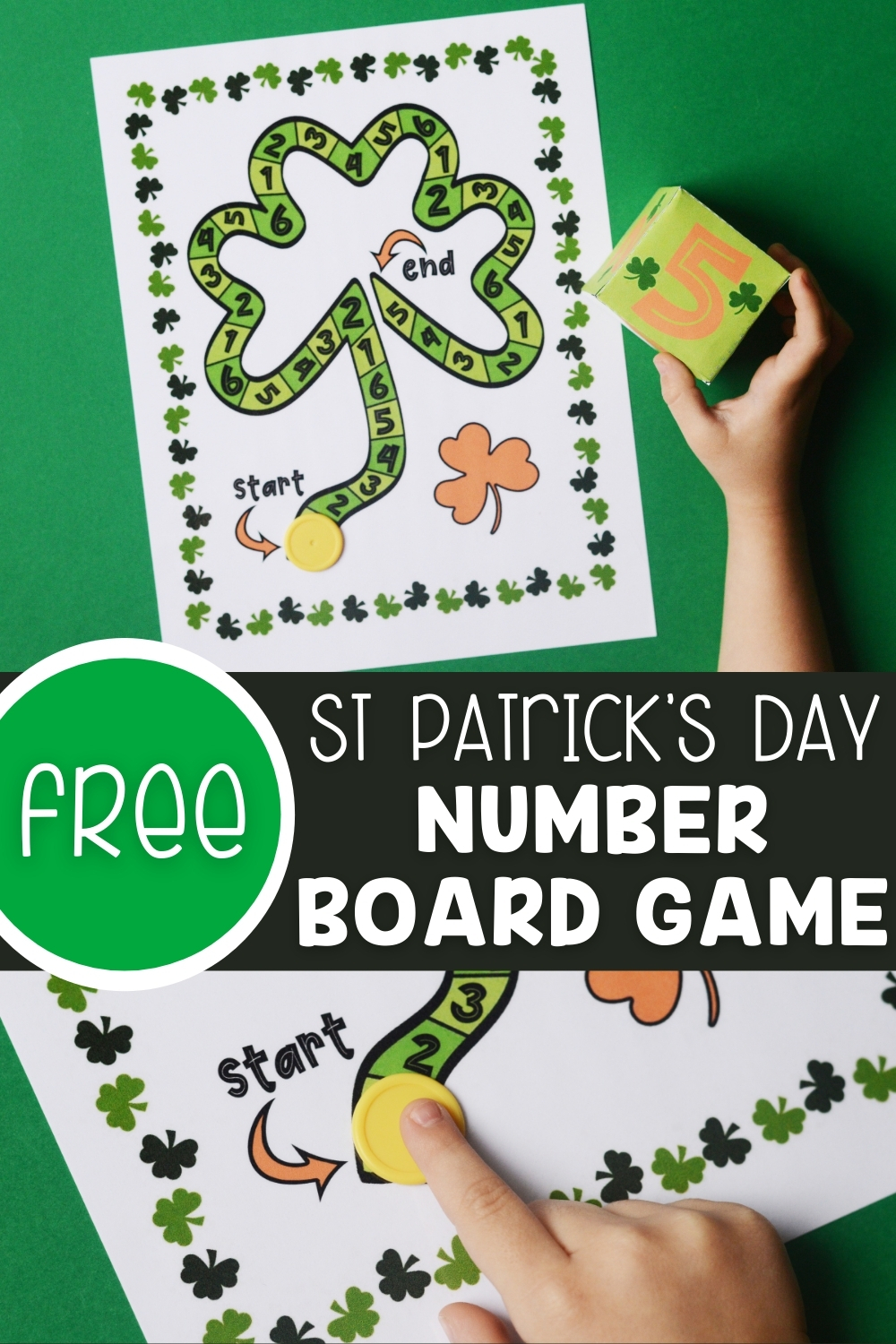 Free St Patrick's Day Number Board Game