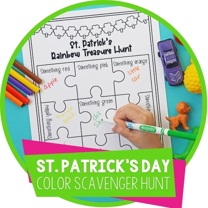 St. Patrick's Day Rainbow Color Scavenger Hunt for Kids