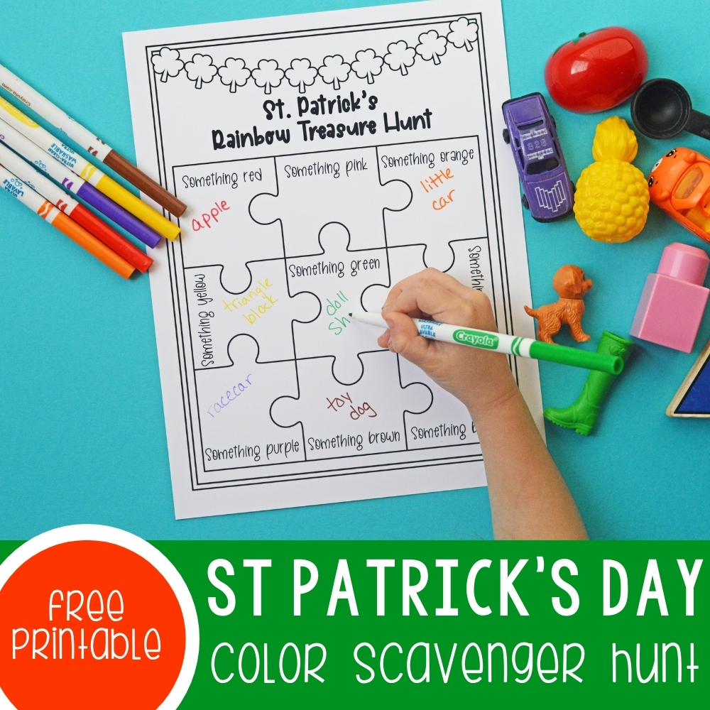St. Patrick's Day Rainbow Color Scavenger Hunt Featured Square Image