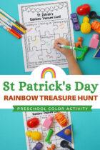 St Patrick's Day Rainbow Treasure Hunt Preschool Color Activity