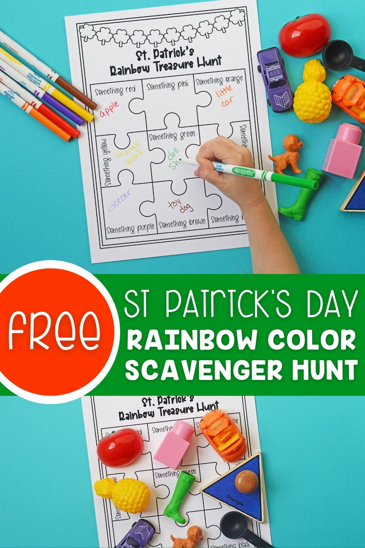 St Patrick's Day Rainbow Color Scavenger Hunt