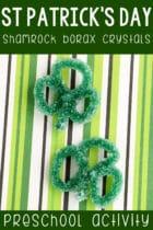St. Patrick's Day Shamrock Borax Crystals Preschool Activity