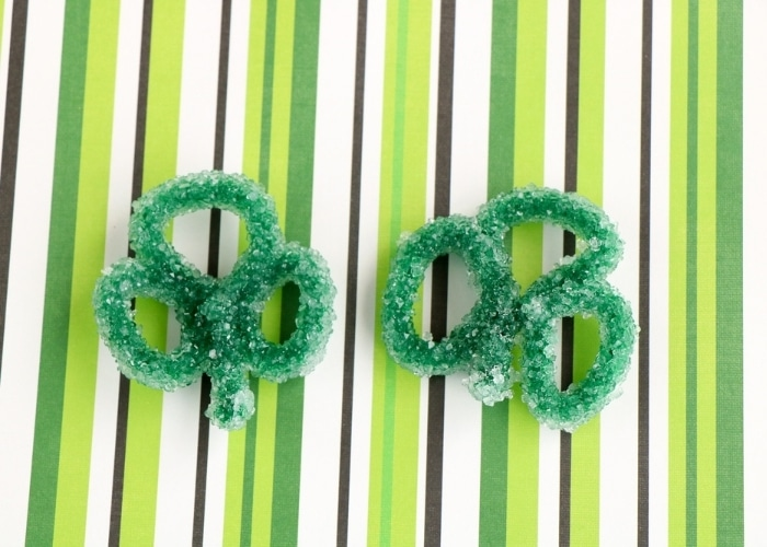 Close up view of the finished St. Patrick's Day Shamrock Borax Crystals.