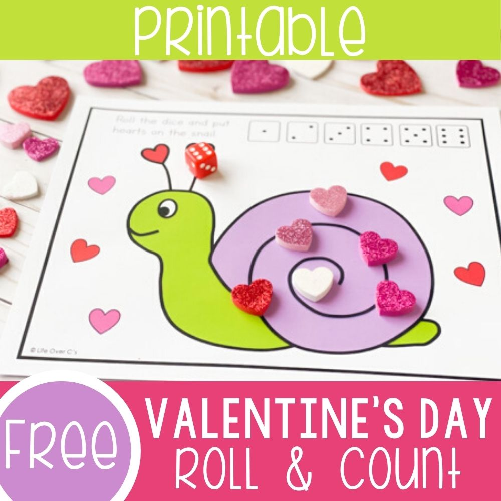 Valentine's Day Roll and Count Game Square Featured Image