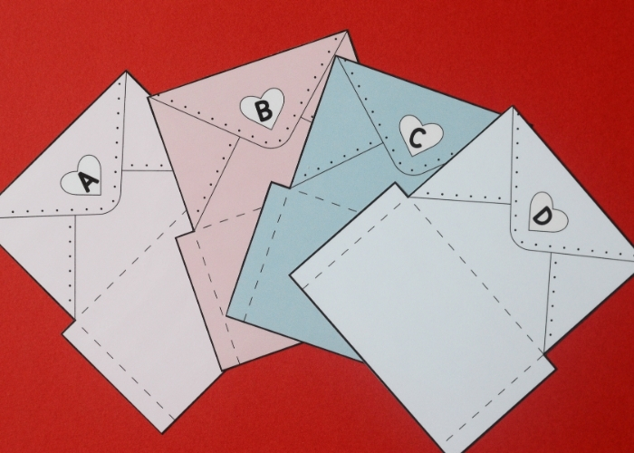The printed and cut out envelopes for the Valentines alphabet matching game.