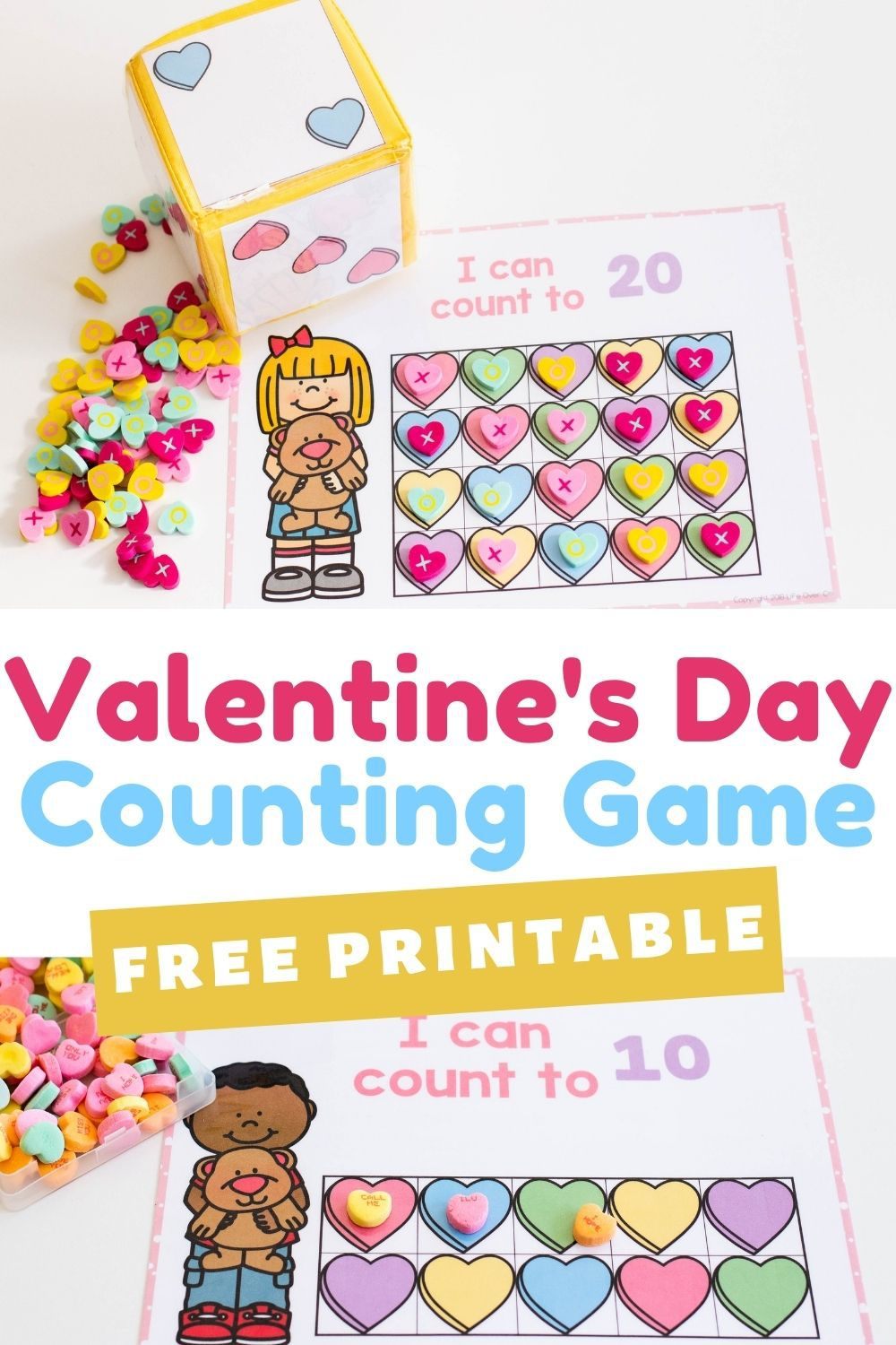 Free Printable Valentine's Day Counting Game
