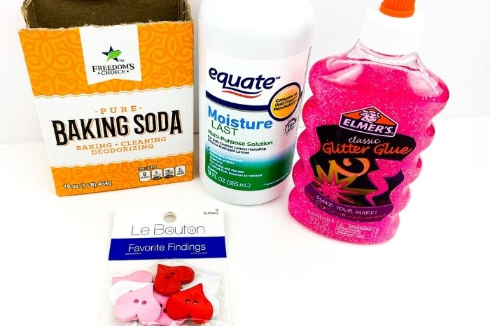 The ingredients for the homemade Valentine's Day slime recipe.