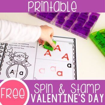 Valentines Day Alphabet Activity matching uppercase and lowercase letters and stamping the alphabet