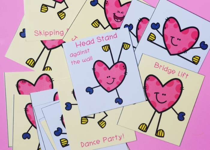 Free printables for Valentine's theme gross motor exercises.