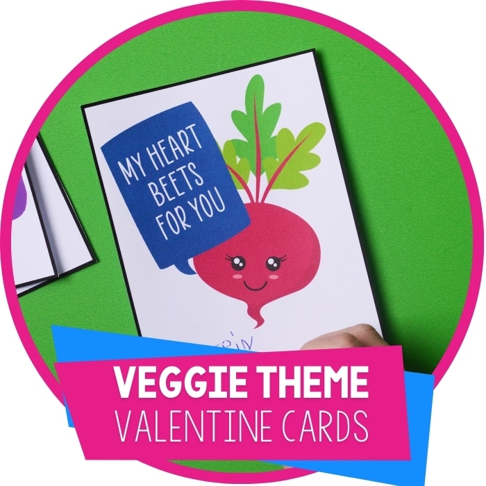 Veggie Cute Printable Valentine Cards for Kids
