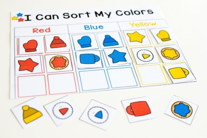 Overhead view of the primary colors winter colors sorting mat.