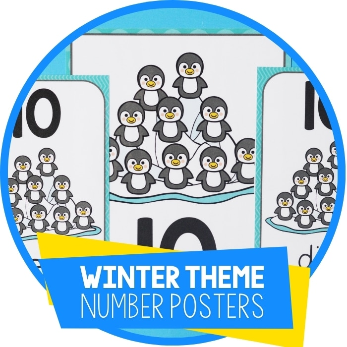 Winter Theme Free Printable Number Posters for Preschool