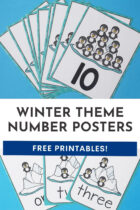Winter Theme Number Posters Free Printables