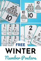 Free Winter Number Posters for Kids