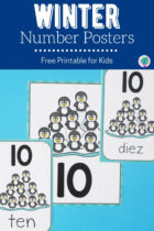 Winter Number Posters Free Printable for Kids