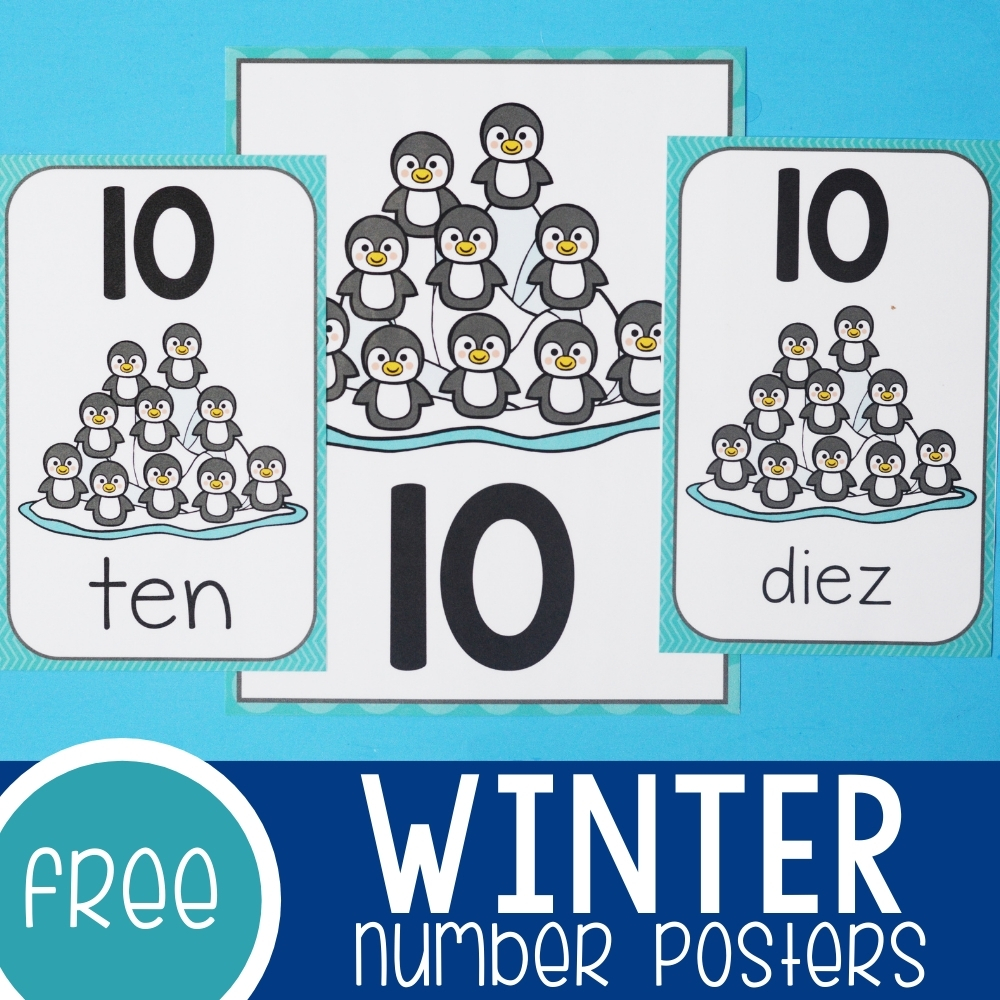 Winter Theme Number Posters Featured Square Image