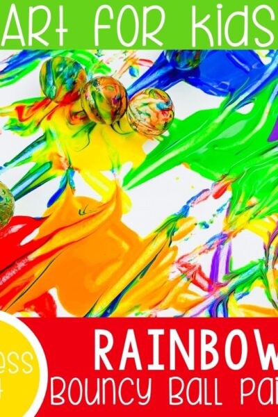 rainbow bouncy ball process art activity for preschool featured square image