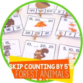 skip counting by 5's forest animal clip cards Featured Image