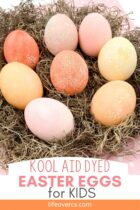 Easter eggs dyed with Kool-Aid.