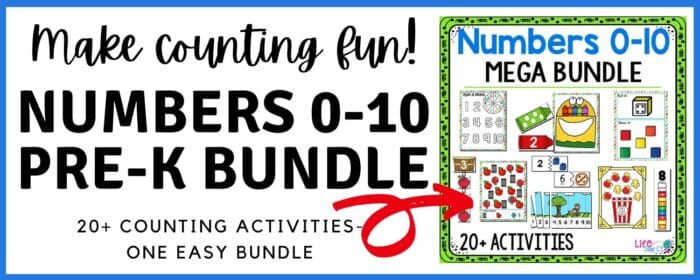 Click to purchase Numbers 0-10 Prek Math Bundle