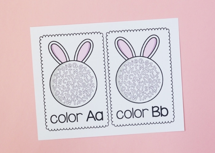Printable Letter A and B coloring sheets with an Easter theme.