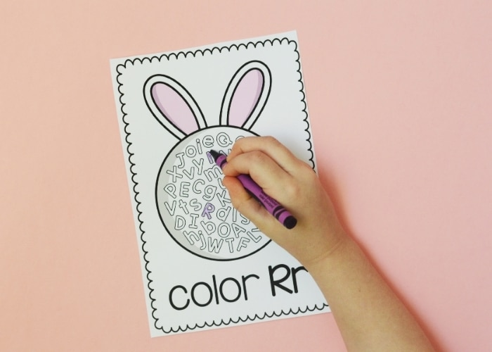 Finding the Letter R on a coloring sheet.