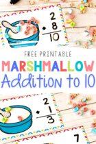 Free Printable Marshmallow Addition to 10 Mats