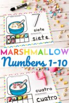 Marshmallow counting mats in English and Spanish.