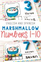 English and Spanish Counting Mats with marshmallows.